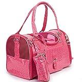 LQLQY Fashion Pink Pet Puppy Dog Carrier Shoulder Bag Cat Handbag Travel Tote Mesh Sling Carry Pack, Pink,L
