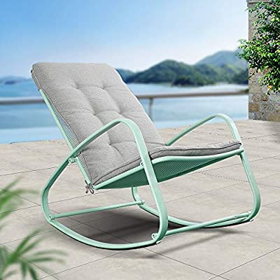 ONG Outdoor Patio Rocking Chair Furniture, Padded Modern Rocker Chairs with Cushion, Steel Frame Supports up to 300lbs, Perfect for Porch, Deck, Balcony, Garden, Poolside and Indoor Use (1PCS, Green)