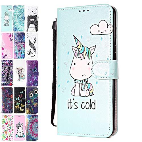Ancase Lederhülle kompatibel für Huawei Y6 2019 / Honor 8A Hülle 3D Muster Einhorn Handyhülle Flip Hülle Cover Schutzhülle mit Kartenfach Handytasche für Mädchen Damen