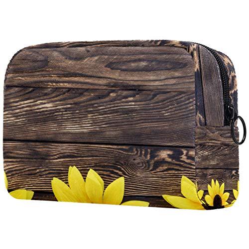 Neceser de viaje, bolsa de viaje impermeable, bolsa de aseo para mujeres y niñas, girasol amarillo