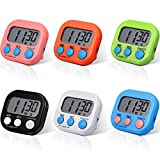 6 Pieces Digital Kitchen Timer Magnetic Countdown Timer Kitchen Loud Alarm Stopwatch Large Digits Timer Clock for Cooking Baking Boiling Egg Sports Games Office Classroom Kids Teacher Study Exercise