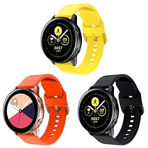 Onedream Cinturino Compatibile con Samsung Galaxy Watch Active/Active 2 44mm 40mm, Sportivo Silicone Bracciale Compatibile con Galaxy Watch 42mm/ Galaxy Watch 3 41mm Donna Uomo, 3 Colori