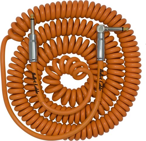 Bullet Cable 30ft Curly Lead (Orange) Straight - Angled Chrome Jacks
