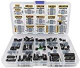 XL IC Chip Sortiment 150tlg Opamp, Oszillator, pwm, PC817, NE555, LM358, LM324, JRC4558, LM393, LM339, NE5532, LM386, TDA2030, TDA2822, PT2399, UC3842, UC3843, ULN2003, ULN2803, 7660 inkl. Steckdosen