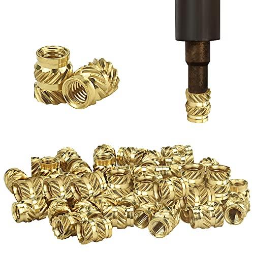 STCRERAG 50 pièces insert fileté fer à souder d'impression 3d douille filetée filetage interne press-fit écrou press-fit Inserts filetés M3 laiton fusion écrou fileté pour pièces imprimées en 3D