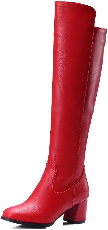 AmoonyFashion Women's Zipper Kitten-Heels PU Solid High-top Boots