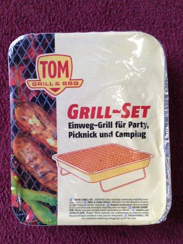Tom Grill & BBQ Einweg-Grill Grill-Set für Party, Picknick & Camping