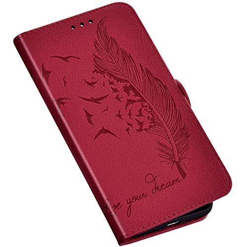 QPOLLY Kompatibel mit Samsung Galaxy S10 5G Hülle Leder Tasche Brieftasche Flip Wallet Case Schutzhülle Handyhülle Blumen Feder Muster Klapphülle mit Standfunktion für Galaxy S10 5G,Rot