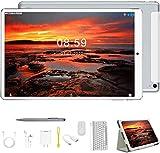 Tablet 10.1 Pulgadas Android 9.0 2 en 1 Tablet PC, 4GB RAM+64GB ROM/128GB de Memoria Octa-Core 8000mAh Dual Ranuras para Tarjetas SIM 8MP+5MP Cámara OTG/BT/GPS Tablets de Función de Llamada (Plata)