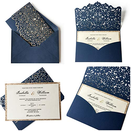 Picky Bride 50Pcs Laser Cut Pocket Wedding Invitations with 2-Layers Gold Glitter Invitation Cards Navy Blue Luxury Invitation Cards for Wedding, Bridal Shower, Birthday Party, Blue Envelopes (Blue)