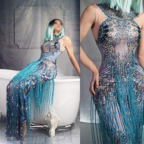 MAXIAOTONG Trajes de Mujeres sin Mangas Cristales de Moda del Partido del Rhinestone Largo Vestido de la Borla del Vestido del Club de Jazz Azul Atractivo del bailarín del Cantante Escenario