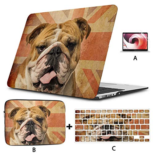12 Inch Macbook Case Closeup English Bulldog Panting On Vintage Macbook Pro 2015 Cover Hard Shell Mac Air 11'/13' Pro 13'/15'/16' With Notebook Sleeve Bag For Macbook 2008-2020 Version