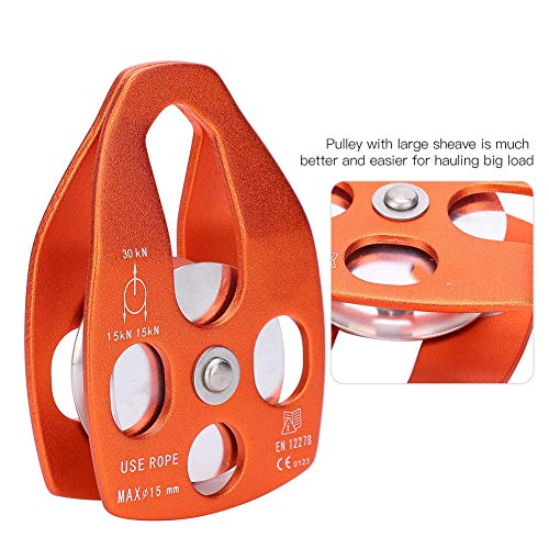 30KN Single Pulley Climbing Pulley General Purpose Small Rope Pulley Aluminum Fixed Eye Rock Pulley(orange)