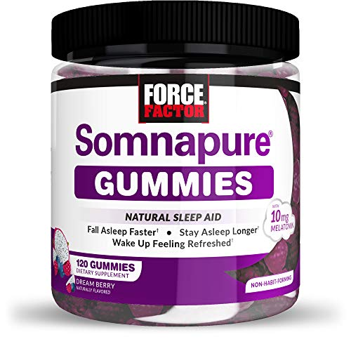 Somnapure Gummies with Melatonin for Adults, Non-Habit-Forming Natural Sleep Aid Supplement for Deep Sleep, Stay Asleep Longer, Wake Up Refreshed, Dream Berry Flavor, Force Factor, 120 Gummies