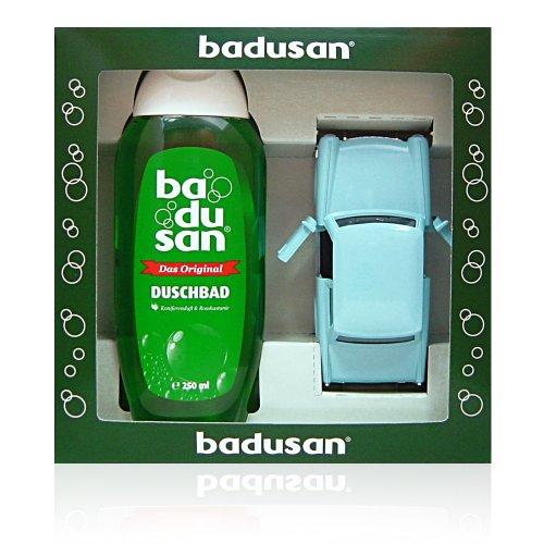 Geschenkset Badusan Duschbad 250 ml Koniferen- & Rosskastanienduft + Trabant blau 601S 1:30, ca. 12 cm lang, aus Metall