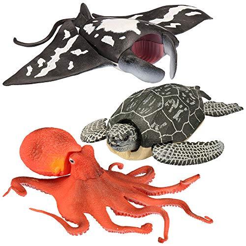 Kid Galaxy 9' Poseable Ocean Action 3 Pack - Sea Animal Edition (Turtle, Manta Ray, Octopus)