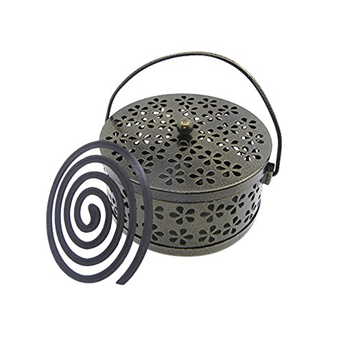 Whiidoom Retro Portable Iron Mosquito Coil Holder with Handle Round Fireproof Incense Holder (Bronze)
