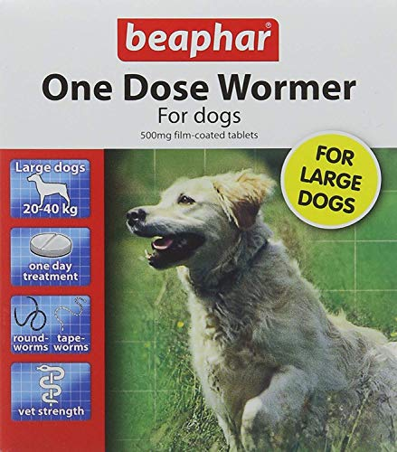 Beaphar One Dose Wormer for Large Dogs 4 Tablets (Pack of 2, Total 8...