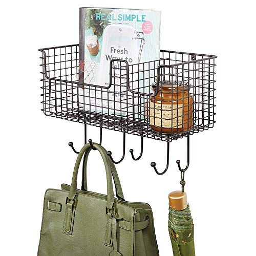 mDesign Metal Wire Farmhouse Wall Decor Storage Organizer Basket with 6 Hooks for Entryway, Hallway, Mudroom, Bedroom, Bathroom, Laundry Room - Wall Mount - Bronze