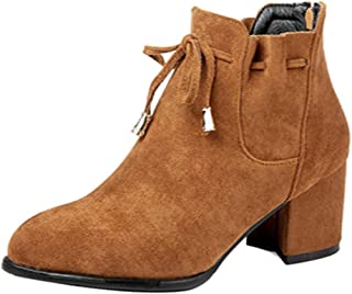 FANIMILA Women Fashion Short Boots Zipper Autumn Booties Block Heels