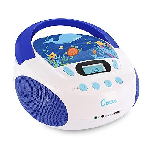 Metronic 477170 Radio/CD-Player für Kinder, Ozean, mit USB-/SD-/AUX-IN-Port blau/weiß