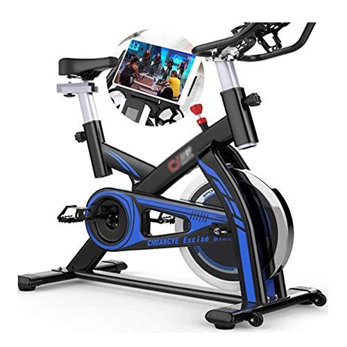 UIZSDIUZ Bicicleta estacionaria de transmisión del cinturón Cubierta Ciclo de la Bici, Spin Bicicleta estática Ciclo de la Bici con la tablilla de Holder y Monitor LCD for el hogar Entrenamiento