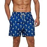 SmartQian - Costume da bagno da uomo, pantaloncini da spiaggia, pantaloni da allenamento, con fodera in rete e coulisse regolabile fenicottero M