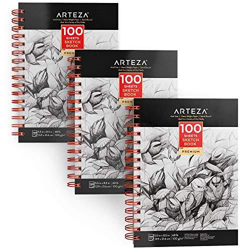 Arteza Cuadernos de dibujo, Pack de 3 blocs en espiral de doble anilla, 100 hojas cada uno, Papel grueso blanco para bocetos, Tamaño 13,9 x 21,6 cm, 100 gsm, Sin ácidos, Para artístas y aficionados