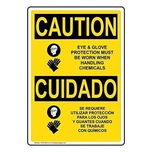 Let op oog- en handschoenbescherming moet gedragen worden bij het hanteren van chemicaliën Engels + Spaans teken, grappige blikmetalen waarschuwingsborden voor eigendom, aluminium, poortteken, hekbord buiten, 8