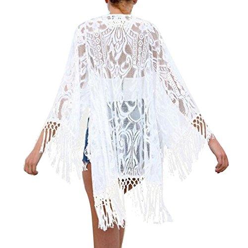junkai Mujeres Playa Poncho Verano Vestir De Las Mujeres Elegante Cordón Blusa V-Cuello Borla Kimono Blanco Protector Solar Camisa Kaftan Sayo Verano Fiesta Baños Traje Bikini Cover up