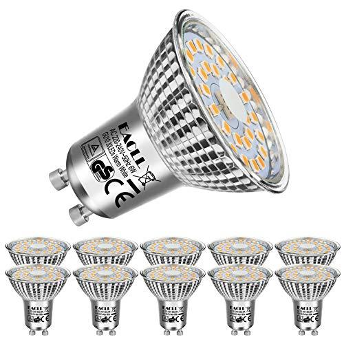 EACLL Gu10 Led Warmweiss 6W Leuchtmittel 2700K 575 Lumen Glühbirnen Äquivalent 75W Par16 Halogen lampen. kein Strobe, Lichtwinkel 120 Grad Warmweiß Licht Tageslichtweiß Birnen, 10 Pack