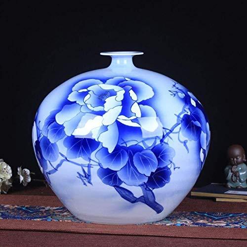YONGYONGCHONG keramiek blauw en wit porselein ornamenten met de hand geschilderde TV kabinet Studie slaapkamer kantoor grote planten bloemen 29 * 26 * 6cm pot