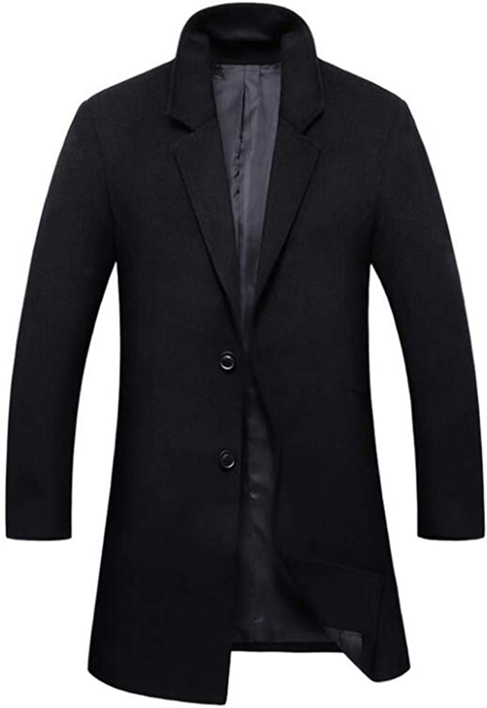 Cafuny Mens Winter Solid Color Trench Coat Slim Fit Wool Blend Single Breasted Overcoat