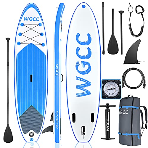 WGCC Inflatable Stand Up Paddle Board, Ultra-Light 16.9LBs SUP Paddleboard with Non-Slip Deck & SUP Accessories - Backpack, Hand Pump, Paddle, Safety Leash, Center Fin || 10'5'x32'x6' (Blue)