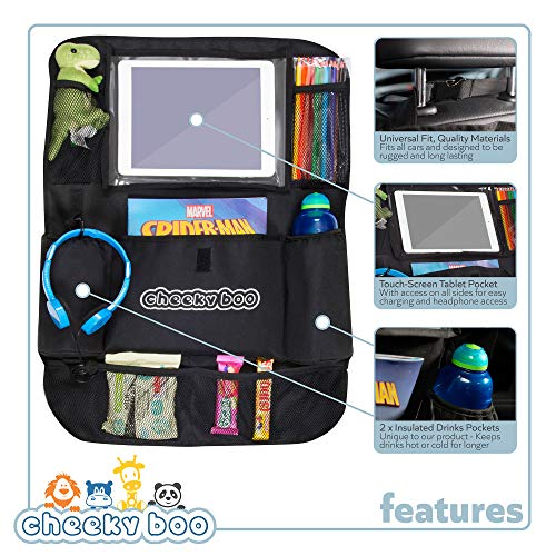 CheekyBoo - Organizador Grande para Asiento Trasero de Coche con Soporte para iPad/Tableta para niños y niños pequeños