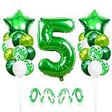 5 Globos de Cumpleaños, Globo 5 Año, Globo Numero 5, Decoracion Cumpleaños Niño, Globos Grandes Gigantes Helio Verde, Globos para Fiestas de Cumpleaños