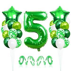Bluelves 5 Globos de Cumpleaños, Globo 5 Año, Globo Numero 5, Decoracion Cumpleaños Niño, Globos Grandes Gigantes Helio Verde, Globos para Fiestas de Cumpleaños