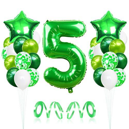 Bluelves Luftballon 5. Geburtstag, Geburtstagsdeko Jungen 5 Jahr, Folienballon Zahl 5, Helium Riesen Zahlenballon 5, Grün Deko zum Geburtstag für Kinder, Junge, Mädchen
