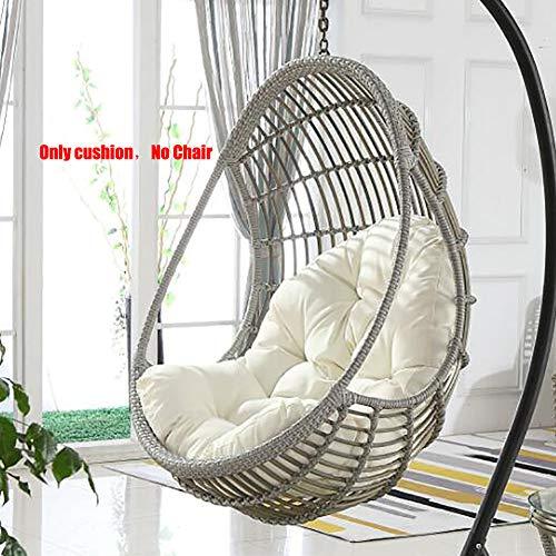 LOVEGLASS Schaukel Hängen Korb Sitz Kissen,verdicken Hängendes Ei Hängemattenstuhl Pads Wasserdicht Stuhl Sitz Dämpfung Zu Patio Garden Weiß 120x86cm(47x34inch)