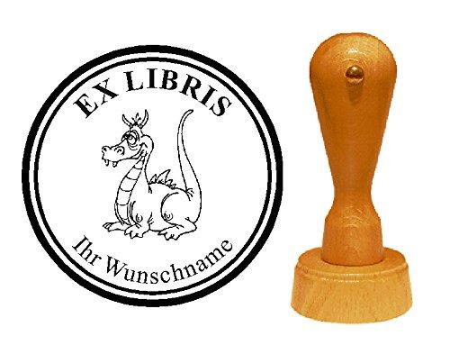EX LIBRIS EXLIBRIS Stempel « DRACHE 07 » Durchmesser ca. Ø 40 mm - mit persönlichem Wunschnamen und Motiv