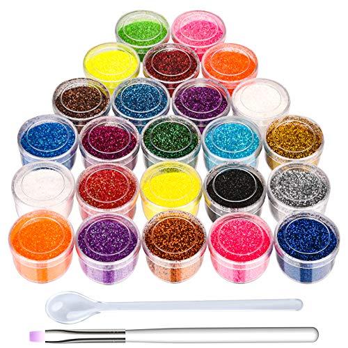 Glitzer für Nägel, 24-Farben Nagel Glitzer Puder, mit einem Pinsel und einer Kleiner Löffel mit Langem Griff für Gelnägel/Augen