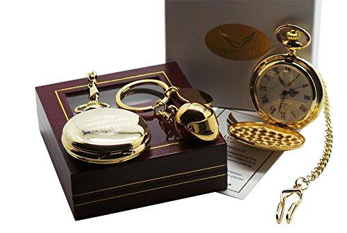 Gold-Taschenuhr mit Harley-Davidson-Logo und Schutzhelm-Schlüsselanhänger, Savonette-Gehäuse, in Luxus-Geschenk-Box