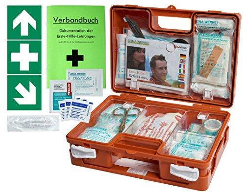 Erste-Hilfe-Koffer BG -Paket 1- für Gewerbe DIN/EN 13 157 - Kleiner Betriebsverbandkasten von WM-Teamsport - incl. Verbandbuch & 3 Aufkleber 1.Hilfe