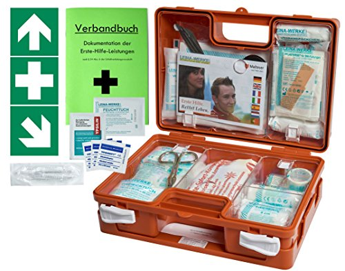 *Erste-Hilfe-Koffer (mit Füllung DIN 13157) – incl. Verbandbuch & Wandhalterung für Betriebe + Folien-Aufkleber 1.Hilfe-Kennzeichnung*