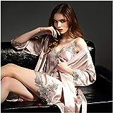 HONGNA Silk Pyjamas Damen Frühling Und Herbst-reizvolle Spitze-Sets Silk Strap Nachthemden Nachthemd Zweiteilige Sets (Color : Pink B, Size : L)