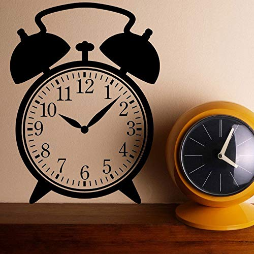 YuanMinglu Vintage Wecker Design Vinyl Aufkleber Uhr Applique Wand Dekoration schwarz L 42x57cm
