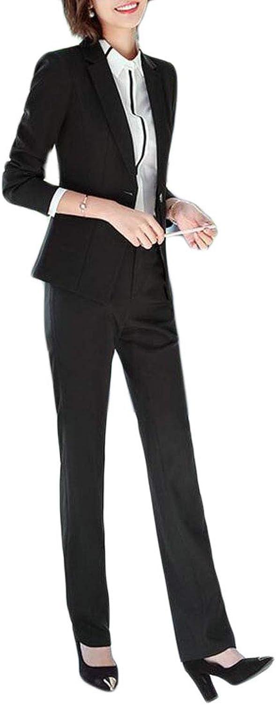 Cromoncent Women's 2 Pieces Office One Button Blazer Coat Casual Business Suit Sets