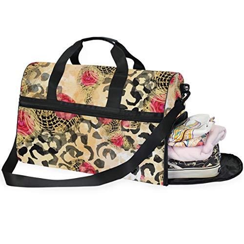 QMIN - Borsone da viaggio con stampa leopardata e fiori di rose, per bagagli a mano, leggero, con cerniera, per donne, uomini, ragazze e ragazzi