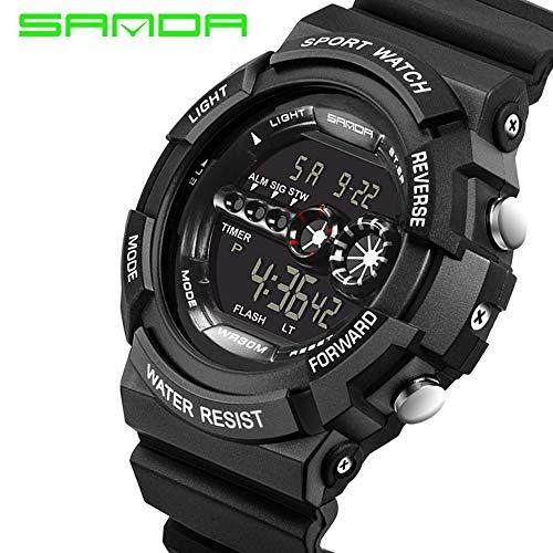 SJXIN Coole stilvolle Sanda-Uhr, Art- und Weisegroßes Vorwahlknopfsport-Multifunktions-Farbbildschirm-elektronische Uhr wasserdichte männliche Sanda-Uhr Sportuhren (Color : 5)