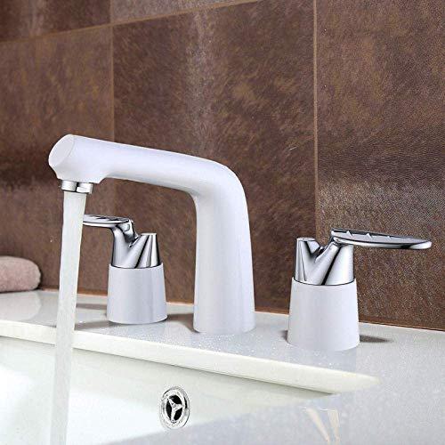 Zixin Rubinetto Rubinetti Leaf Design Piattaforma montata Maniglia a Doppia Tre Fori diffuso Bagno Rubinetto in Ottone Lavabo Acqua Calda e Fredda Mixer Tap